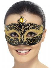 Gothic Swan Eye Mask Black/Gold